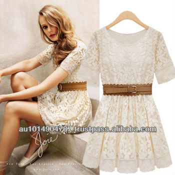 LACE BIG FLARE LADY LONG DRESS A310