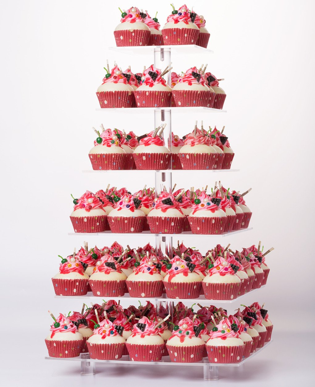 Buy 7 Tier Square Acrylic Cupcake Stand Tower Wedding Cake Stand ...