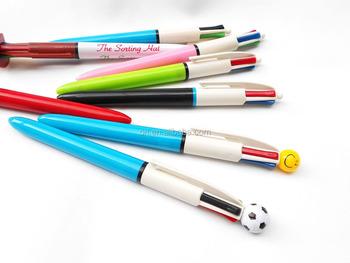 new model 4 color ball pen smile cartoon four colour pen football pen