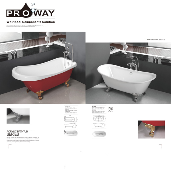 Alibaba Best Sellers Classical Freestanding Bathtub Acrylic Tub Claw Foot Bathtub