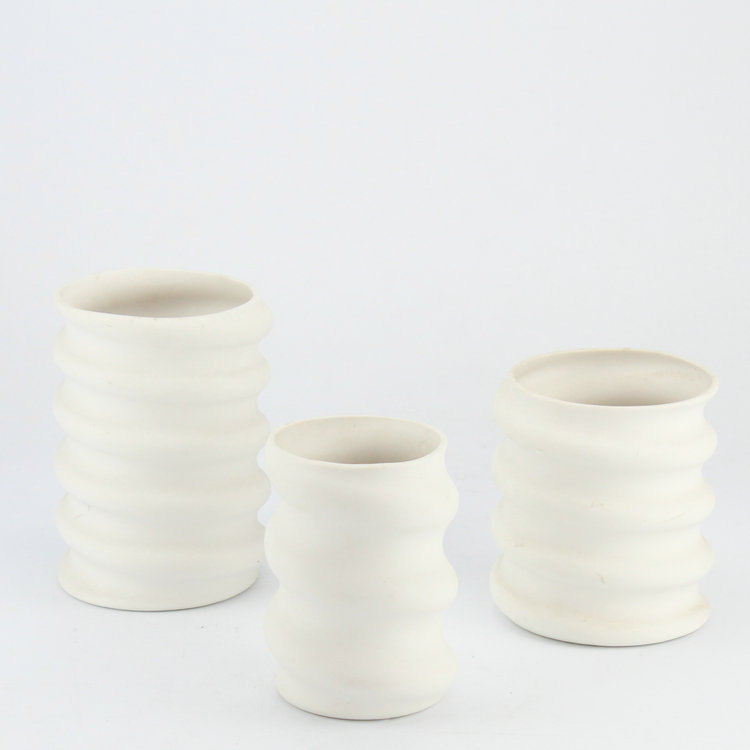 Spiral fluted unique shape ceramic home decor vase / clay vases for wedding centerpieces