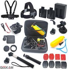 GEEKAM Sj4000 Accessories Set Chest Belt Head Mount Strap Monopod Handhold Mount SJCAM Battery And Charger Sj4000 Black Edition