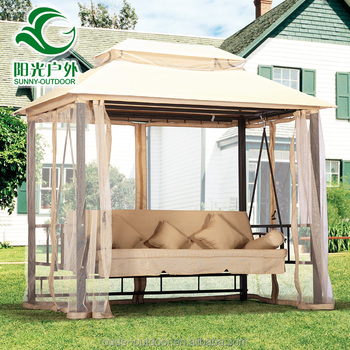 2016 Heavy Duty Outdoor Furniture Hanging Swing Bed With Mosquito