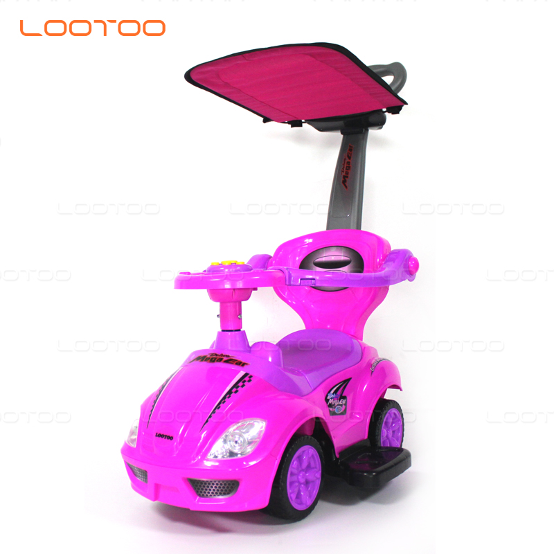 Hebei factory cheap price oem wheel plastic pp luxury lovely pink girl push toys kids foot to floor ride on car for 4 years