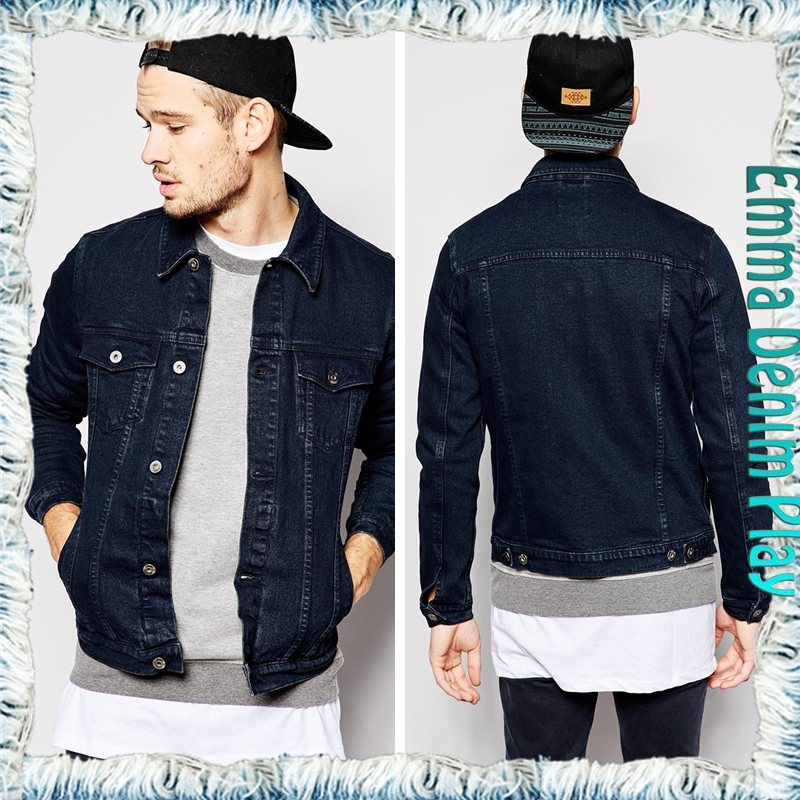 Mens Fashion Autumn Long Sleeve Dark Blue Jean Four Pockets Coat