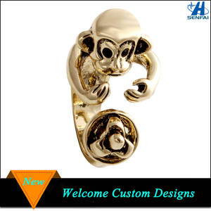 2016 Fashion Jewelry Cute Monkey Gold Ring Latest Gold Finger Ring Designs