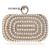 fashion party wedding formal crystal pearl beaded cosmetics clutch purse evening bags