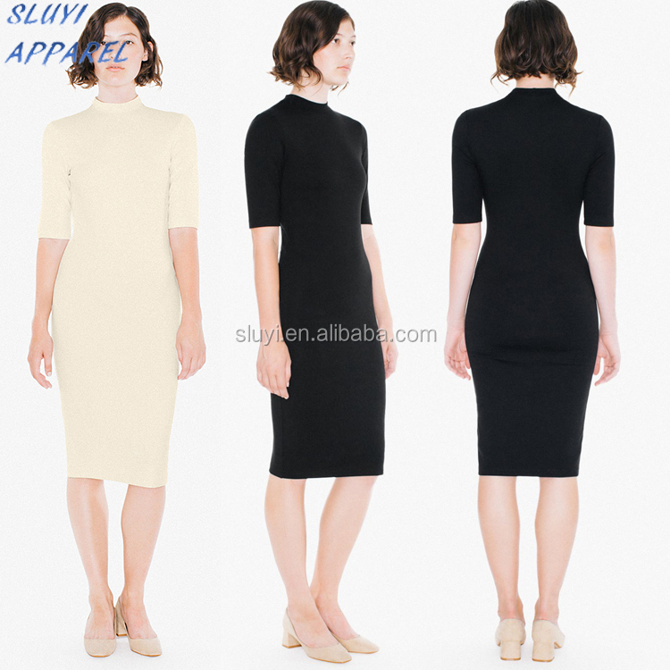 Breathable Feature And Adults Age Group Cotton Spandex dress cotton club dresses new women clothes Mock Neck dress