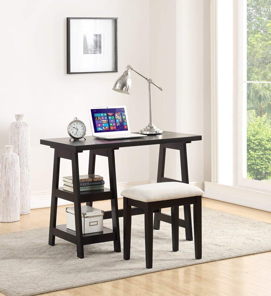 Benzara BM167193 Wooden Writing Desk with Side Shelves and Stool, Black