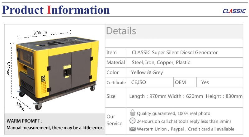 10kw 10000w Diesel Generator Set 10 Kva 3 Phase Silent