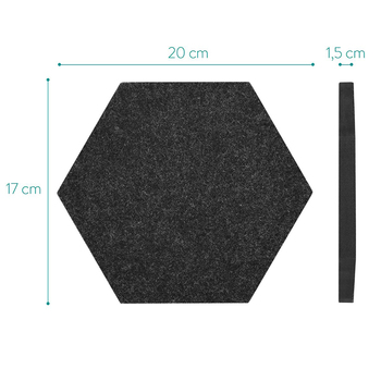 Set of 5 Black Felt Bulletin Pin Board With Hexagon