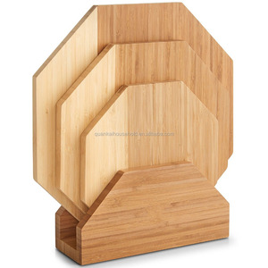 Modern Octagonal Chopping Serving Boards Set of 3 With Stand 100% Natural Bamboo cutting board Wood chopping board