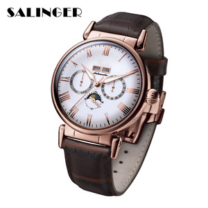 Hot Selling Nice Stainless Steel Genuine Leather Men Mechanical Watch For Gift