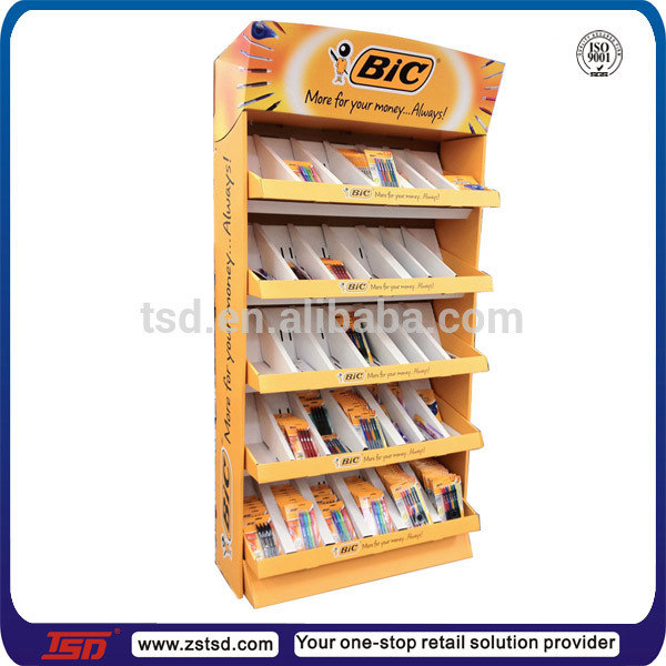Custom kartonnen pen tsd-c548 winkel vitrine, pen display rack, briefpapier display teller