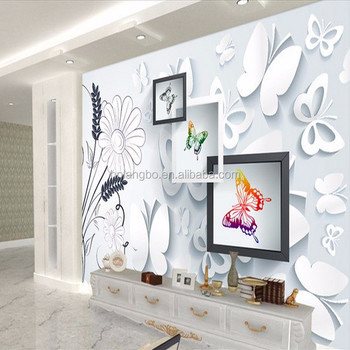 3d Black And White Wall Painting Wallpaper Tv Background Living Room