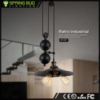 America style black retro E27 3 bulbs adjustable indoor droplight Industrial decorative vintage pendant light