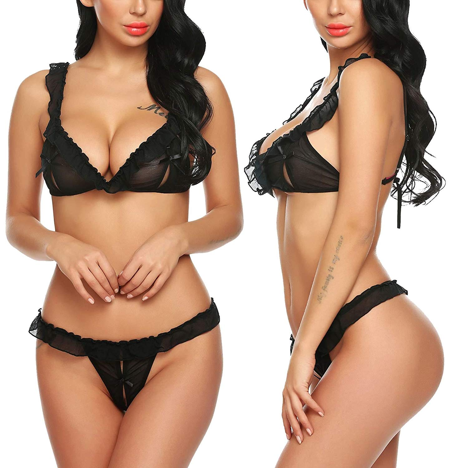 75a9a7a5a1 Get Quotations · Avid love Women Strappy Lace Teddy Lingerie 2 Piece Halter Babydoll  Bodysuit (Black