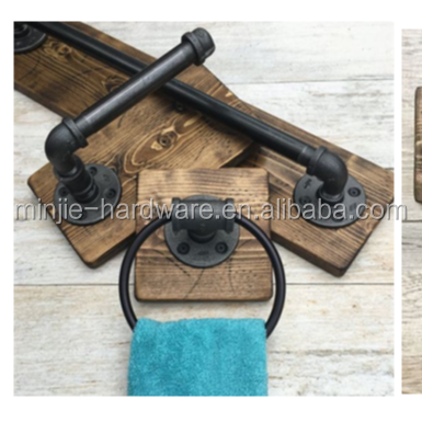 24 inch Industrial iron pipe bathroom towel holder