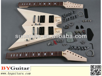 double neck electric guitar kits with v shape gk sbd 20 buy double rh alibaba com