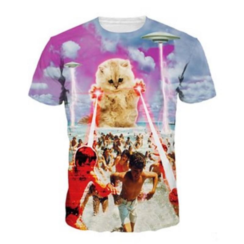 f3d637d4e43 Wholesale New Style Brand Clothing Laser Cat 3D Printing Men T Shirt ...
