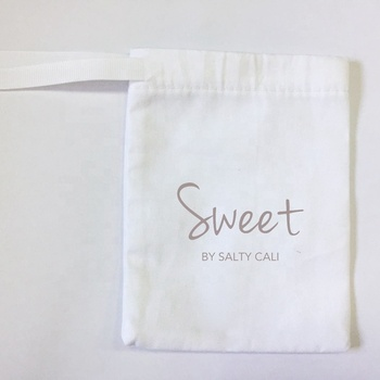 White cotton draw string pouch muslin favor pouch with ribbon bow promotion