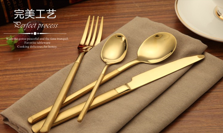 New products matt wholesale gold plated flatware sets