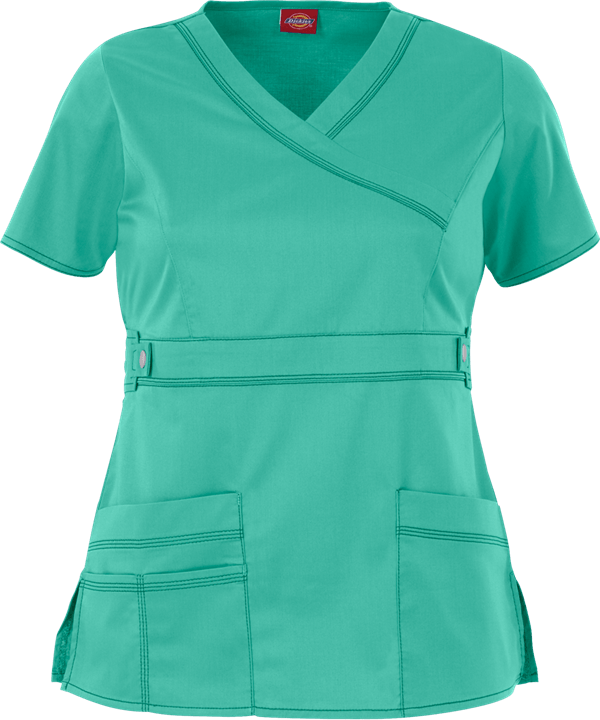 Custom Women's Stylish Mock Wrap Scrub Tops