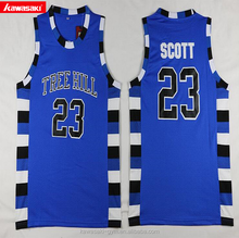 stylish reversible blue color basketball jersey your own logo design