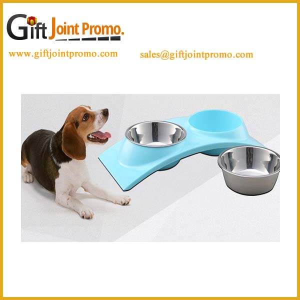 Cheap stainless steel double dog bowl