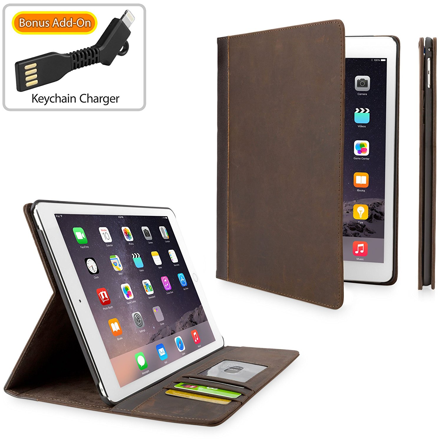 iPad Air 2 Case, BoxWave [Classic Book Case with BONUS Keychain Charger] Vintage Book Design Wallet Cover for Apple iPad Air 2