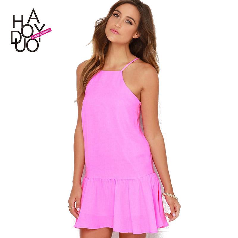 Haoduoyi mujeres Rosa mini vestido sexy Slash cuello una línea ...