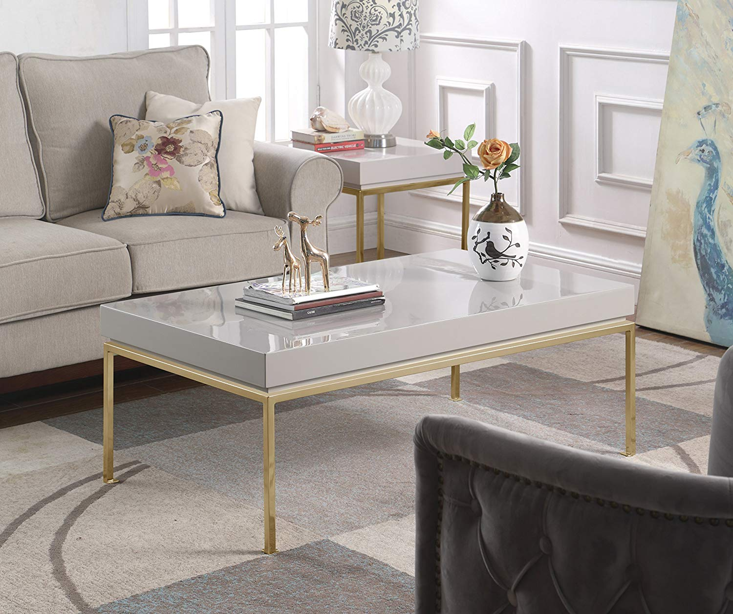 Iconic Home Alcinda Center Coffee Table Rectangular Frame High Sheen Lacquer Finish Top Gold Plated Metal Legs, Modern Contemporary, Grey