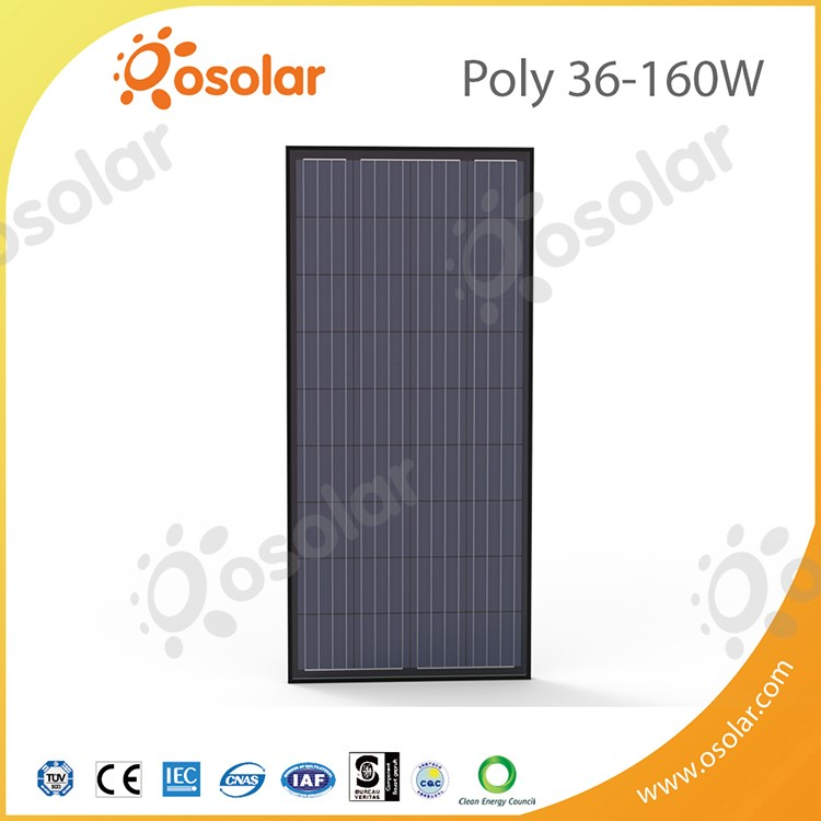 Osolar 160W 36 cells Black Polycrystalline Solar Panel