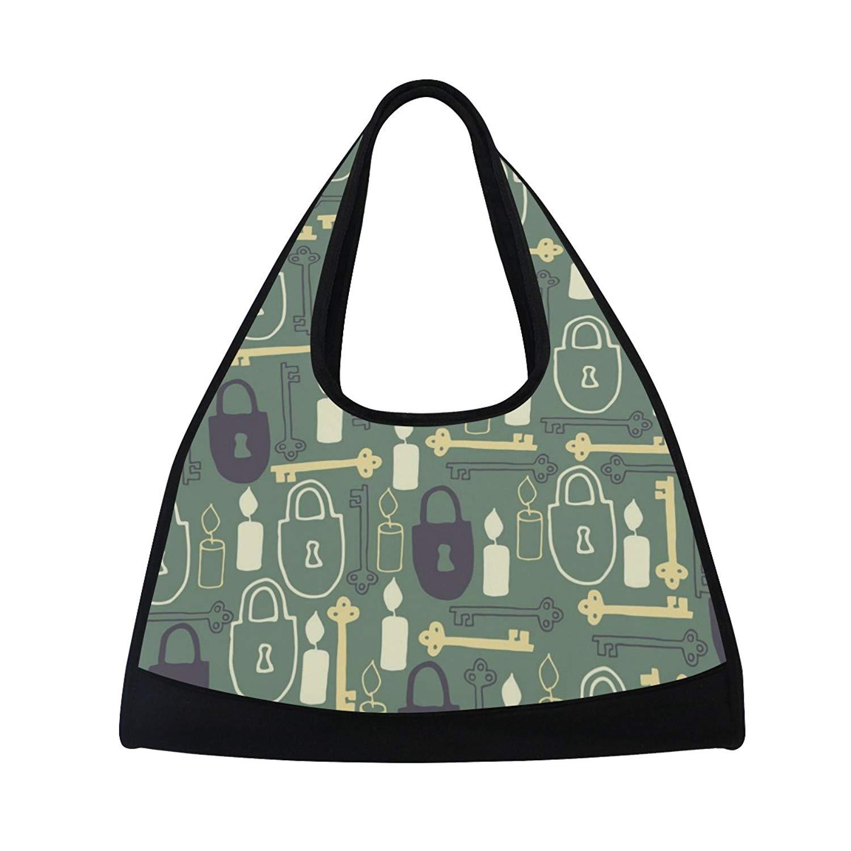 Sport Gym Bag Key Lock Candle Pattern Canvas Travel Duffel Bag