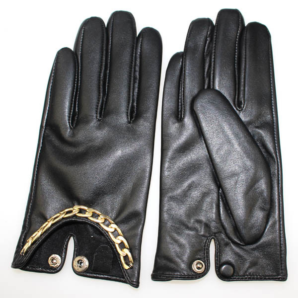 Women's basic leather gloves with metal chain