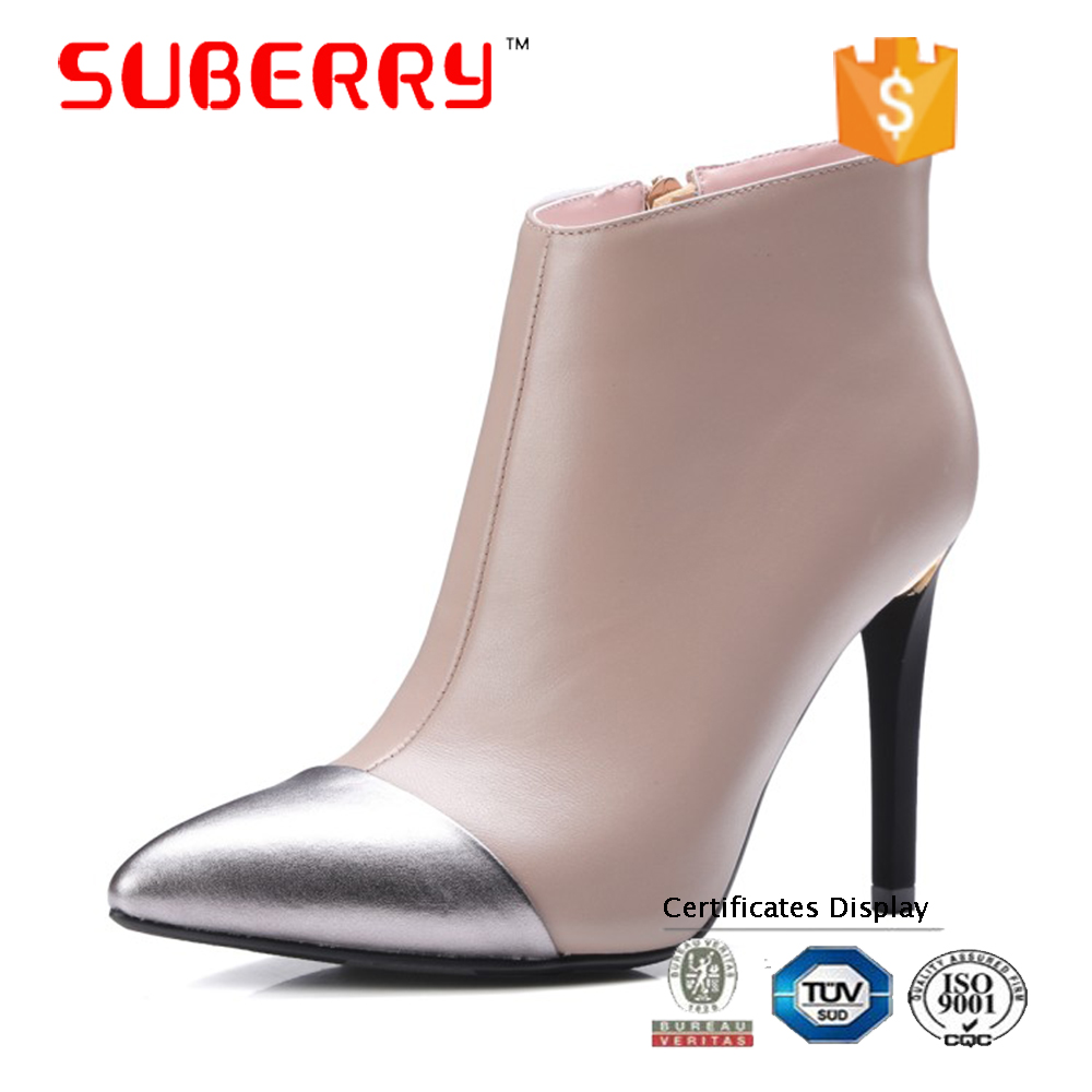 SUBERRY 2017 pointed toe thin high heels boots ladies shoes women Sheep fashion leather ankle boots