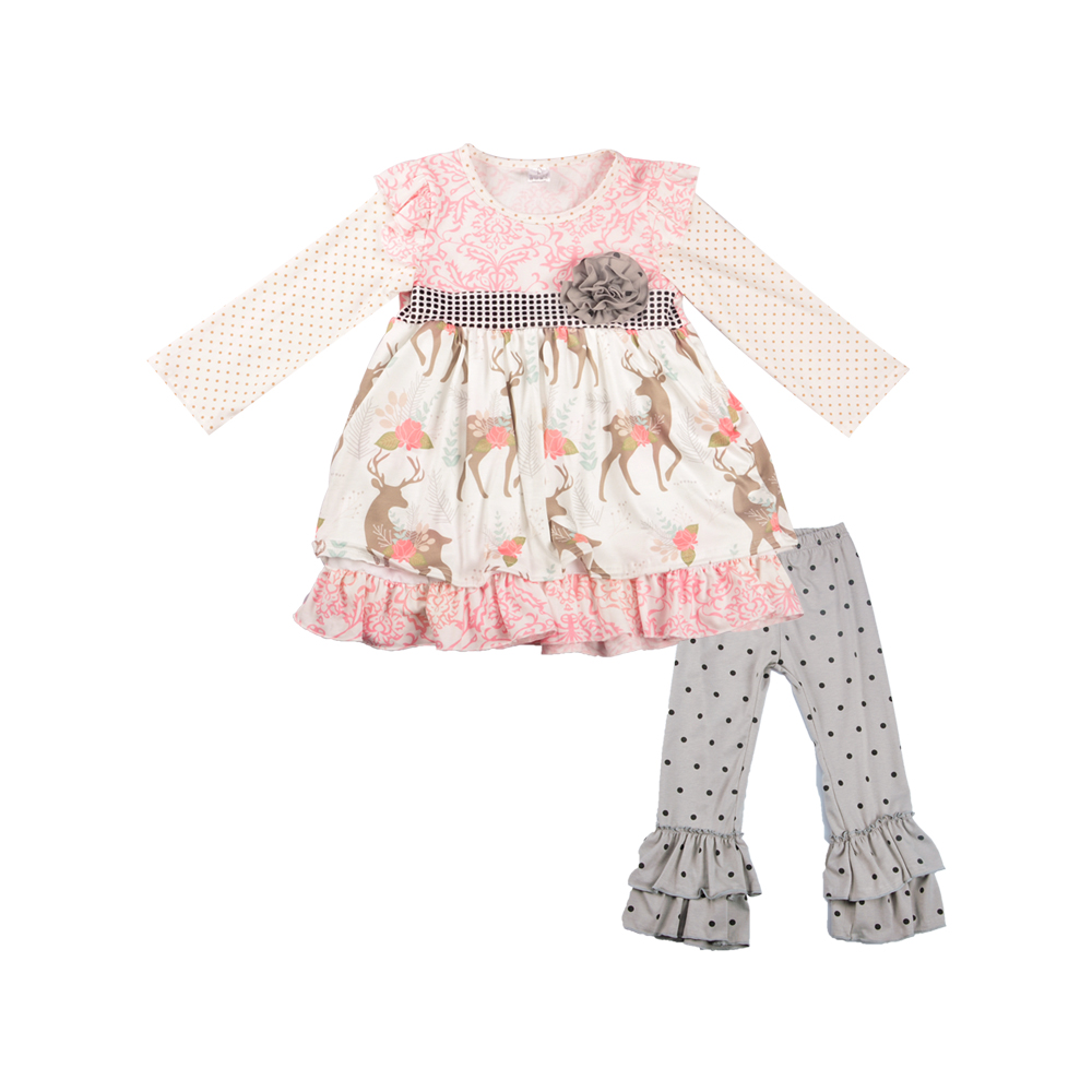 fashion baby girl's clothes sets fall long sleve jojo pink boutique clothing