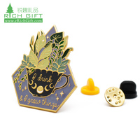 Manufacturers in china custom metal colorful enamel glitter flower rose lapel pin for girl