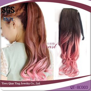 ombre curly synthetic hair drawstring ponytail brazilian real wave hair wigs