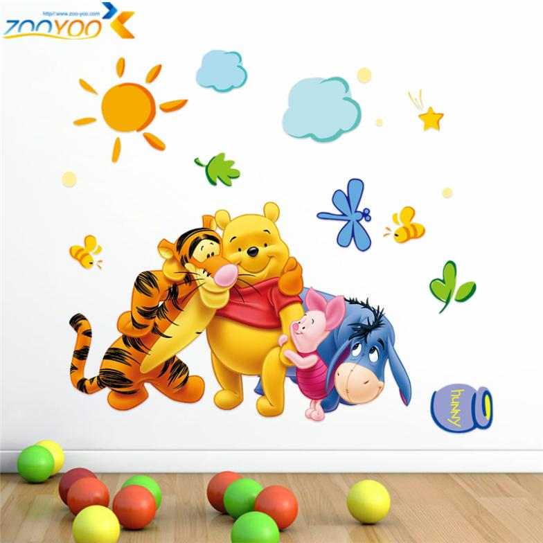 Winnie The Pooh With Friends Wall Art For Kids Room Decor Wall Stickers Diy Cartoon Movie Decals Peel Stick Children Gift Winnie Pooh Winnie The Poohstickers Winnie The Pooh Aliexpress