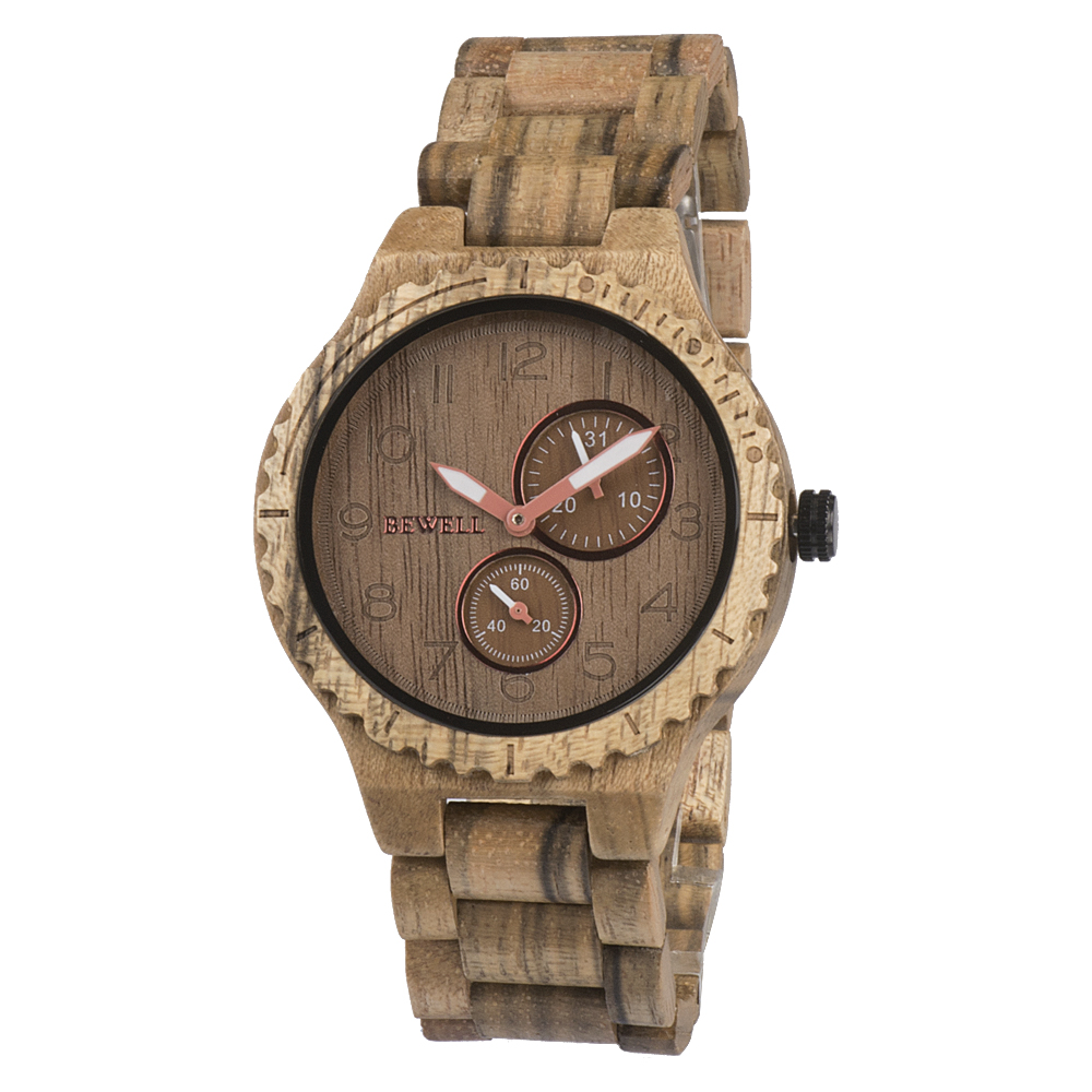 wooden band amazon wood watch natural grain genuine com dp with mens watches zebra leather handmade brown