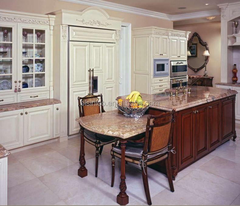 luxus klassischen massivholz küchenschrank mit küche insel,