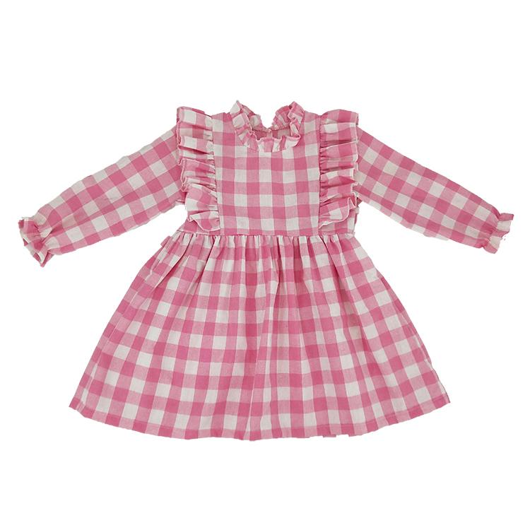 Nieuwe collectie custom korea meisjes roze kids baby plaid jurk ruches jurk valentine kleding