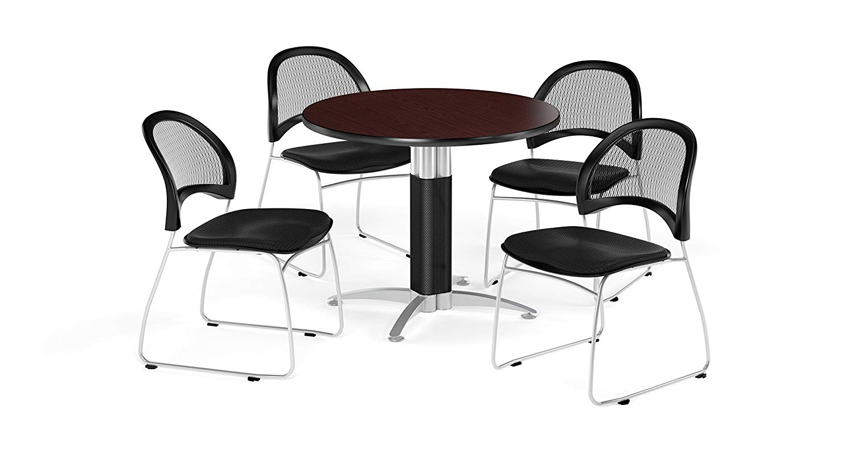 OFM PKG-BRK-175-0048 Breakroom Package, Mahogany Table/Black Chair