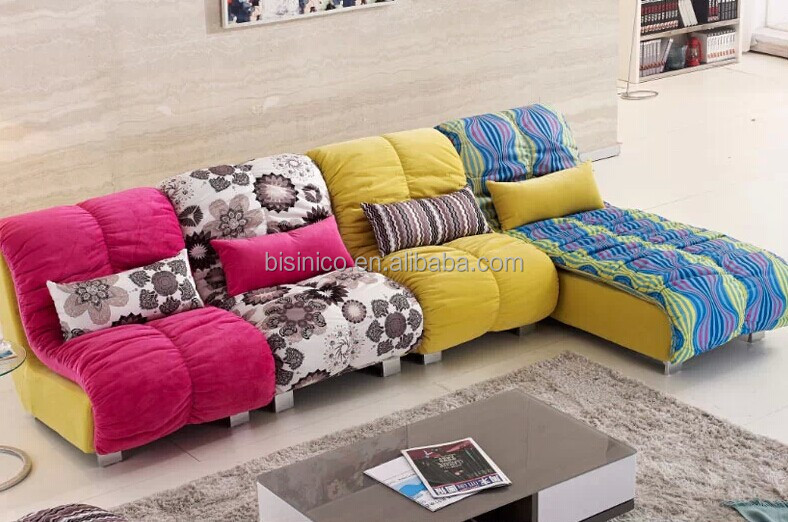 Contemporary Style Living Room Sofa Set Bright Coloured L Shaped Sectional Couch Leisure