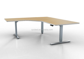 L Shaped Work Table Three Feet Sit Stand Electric Height ...