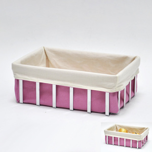 Fancy Pink 2 Tone Canvas French Rectangular Bread Basket