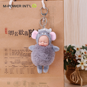 Soft 3D cute doll design your own keychain, plush kids doll Metal lock key chain, phone / bags charms Stuffed key