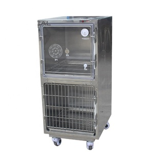 Veterinary medical 304 Stainless Steel oxygen 2 door Dog Show Cage
