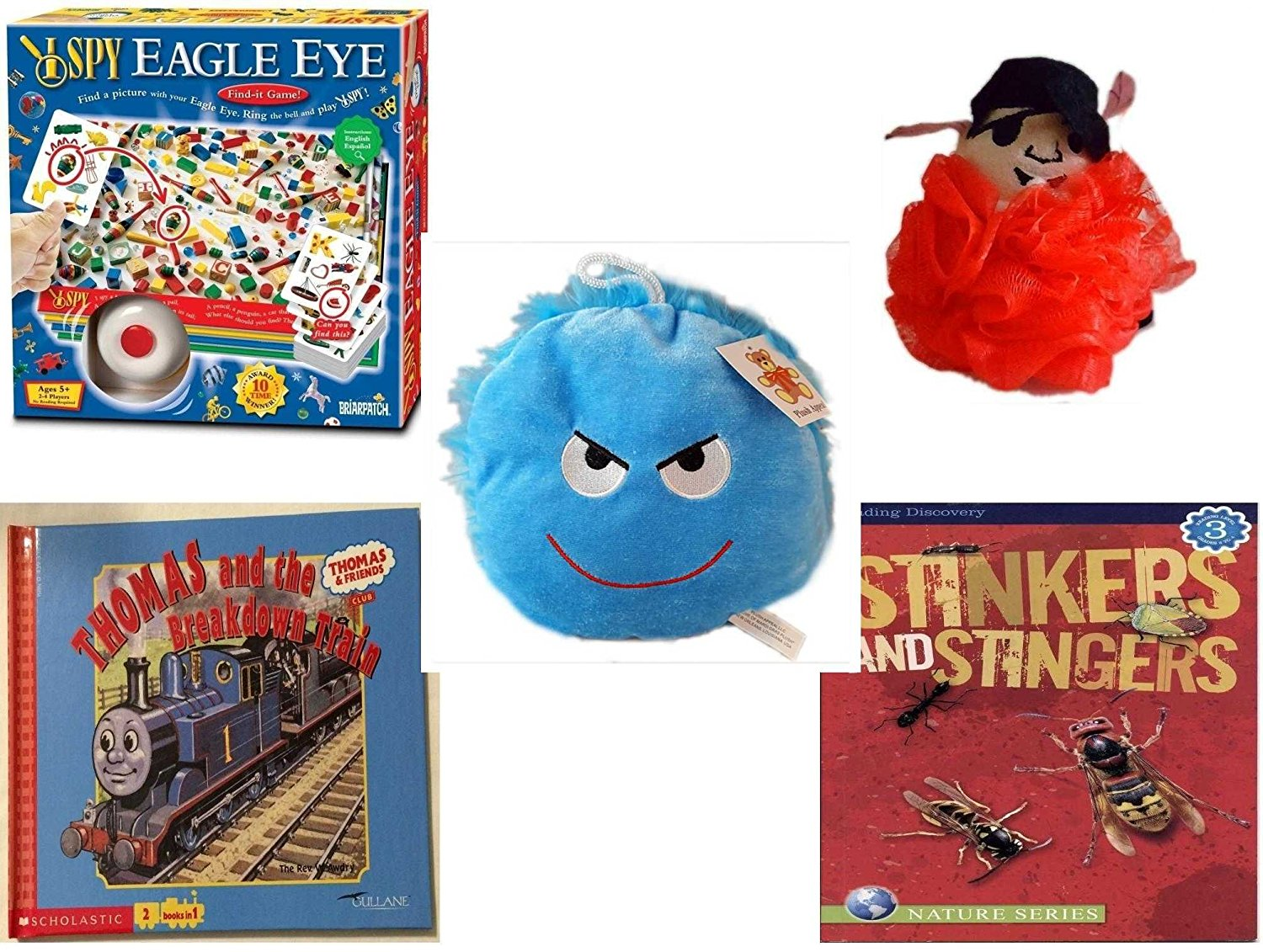 "Children's Gift Bundle - Ages 3-5 [5 Piece] - I SPY Eagle Eye Game - The Wiggles Captain Feathersword Net Bath Sponge - Plush Appeal Bright Blue Mischievous Face Plush 7"" - Thomas and the Breakdown"